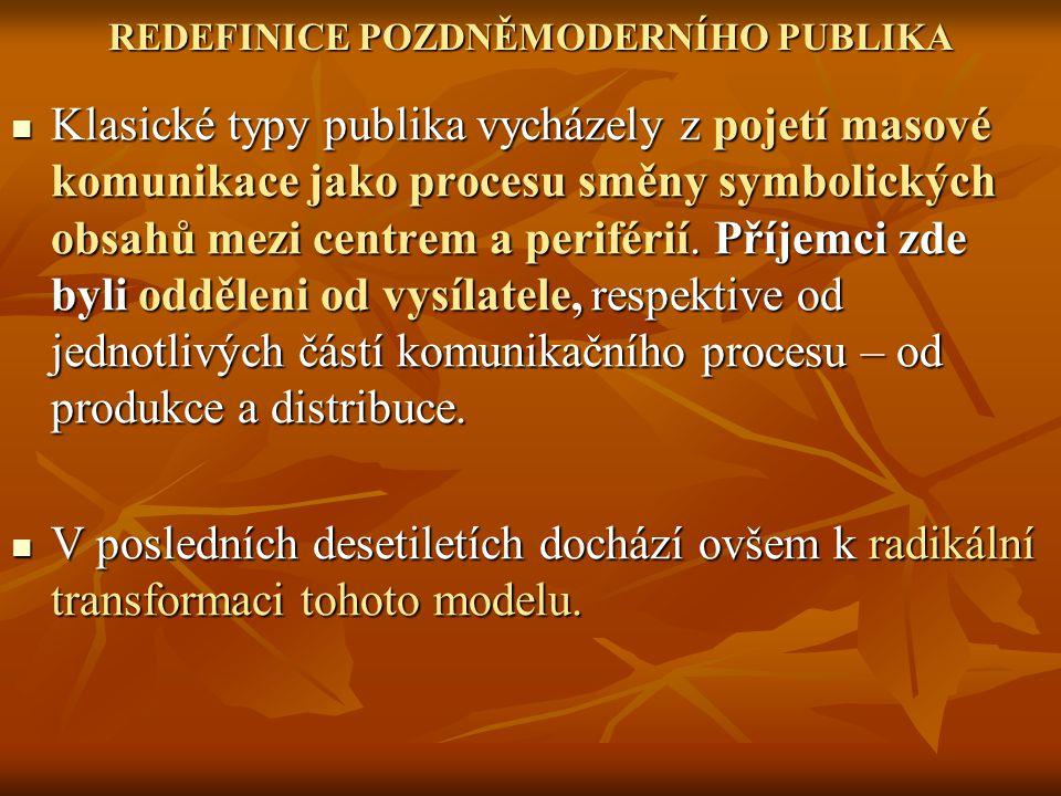 REDEFINICE POZDNĚMODERNÍHO PUBLIKA Klasické typy publika vycházely z pojetí masové komunikace jako procesu směny symbolických obsahů mezi centrem a pe