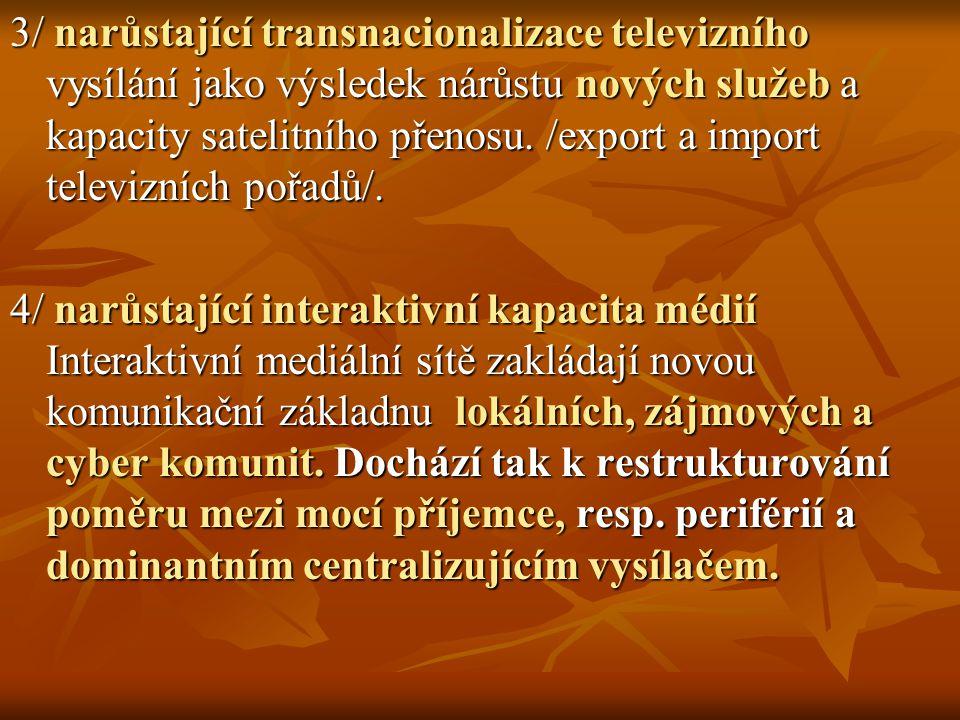 3/ narůstající transnacionalizace televizního vysílání jako výsledek nárůstu nových služeb a kapacity satelitního přenosu. /export a import televizníc