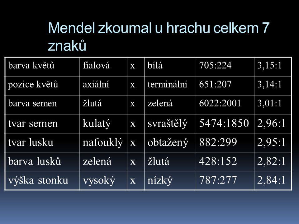 Mendel zkoumal u hrachu celkem 7 znaků barva květůfialováxbílá705:2243,15:1 pozice květůaxiálníxterminální651:2073,14:1 barva semenžlutáxzelená6022:20