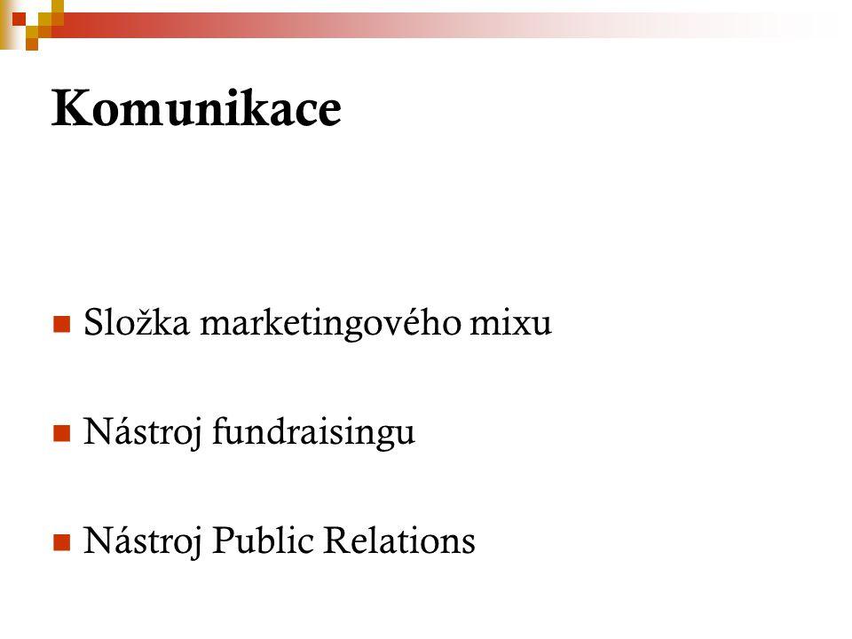 Slo ž ka marketingového mixu Nástroj fundraisingu Nástroj Public Relations