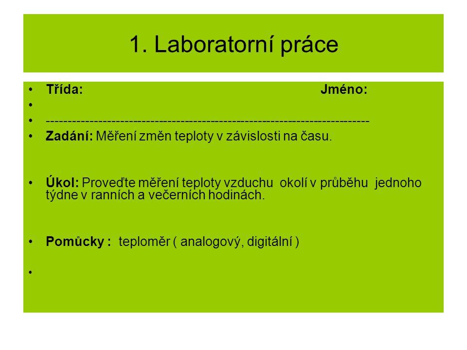 1. Laboratorní práce Třída: Jméno: --------------------------------------------------------------------------- Zadání: Měření změn teploty v závislost