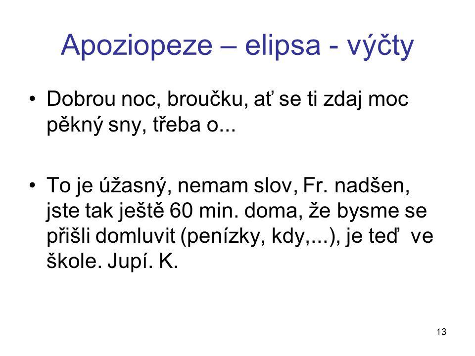 Apoziopeze – elipsa - výčty Dobrou noc, broučku, ať se ti zdaj moc pěkný sny, třeba o...