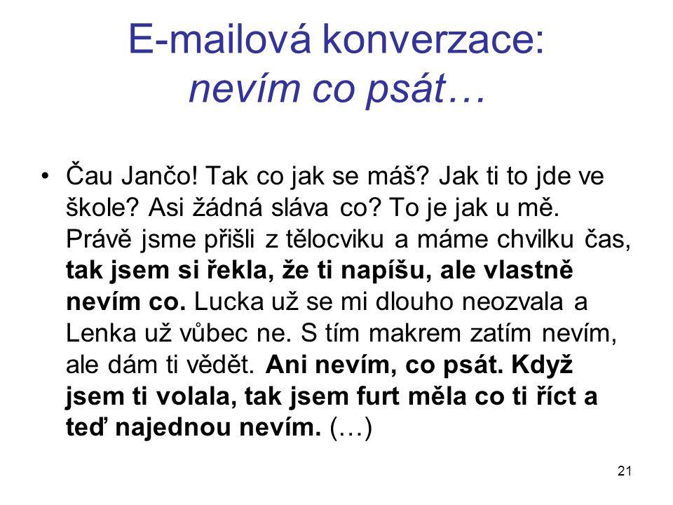 E-mailová konverzace: nevím co psát… Čau Jančo. Tak co jak se máš.
