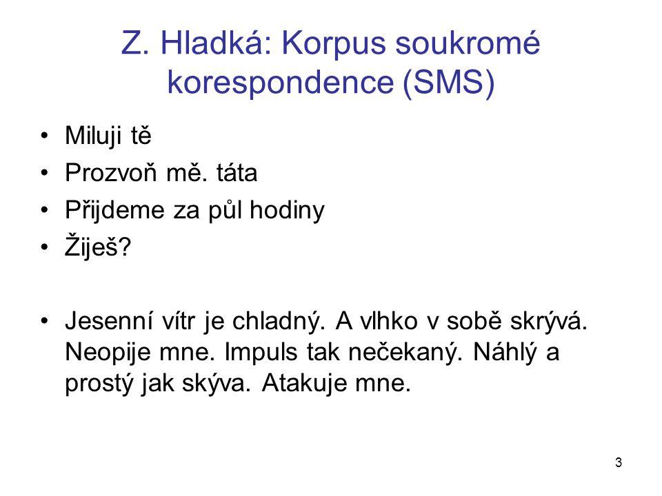 Z. Hladká: Korpus soukromé korespondence (SMS) Miluji tě Prozvoň mě.