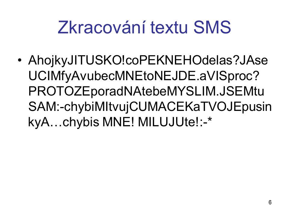 Zkracování textu SMS AhojkyJITUSKO!coPEKNEHOdelas?JAse UCIMfyAvubecMNEtoNEJDE.aVISproc.