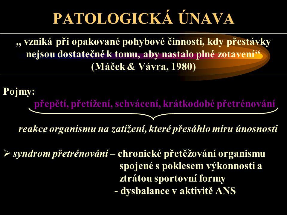 PATOLOGICKÁ ÚNAVA,, vzniká při opakované pohybové činnosti, kdy přestávky nejsou dostatečné k tomu, aby nastalo plné zotavení'' (Máček & Vávra, 1980)