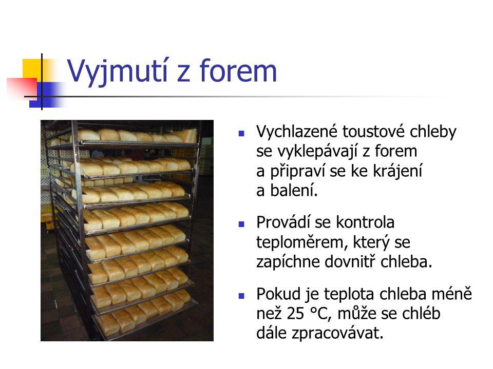 Vyjmutí z forem Vychlazené toustové chleby se vyklepávají z forem a připraví se ke krájení a balení.