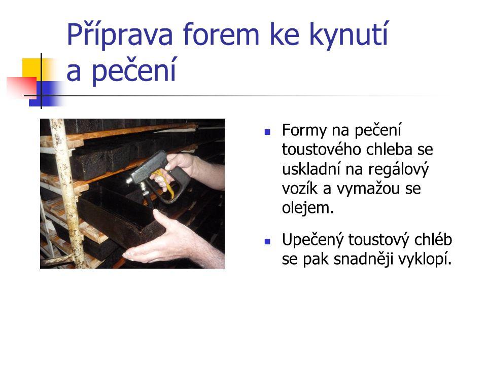 Příprava forem ke kynutí a pečení Formy na pečení toustového chleba se uskladní na regálový vozík a vymažou se olejem.