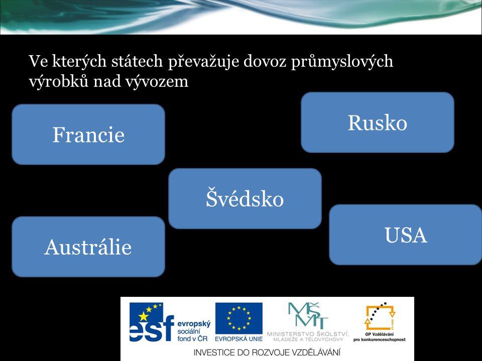 Ve kterých státech převažuje dovoz průmyslových výrobků nad vývozem Francie Švédsko USA Rusko Austrálie