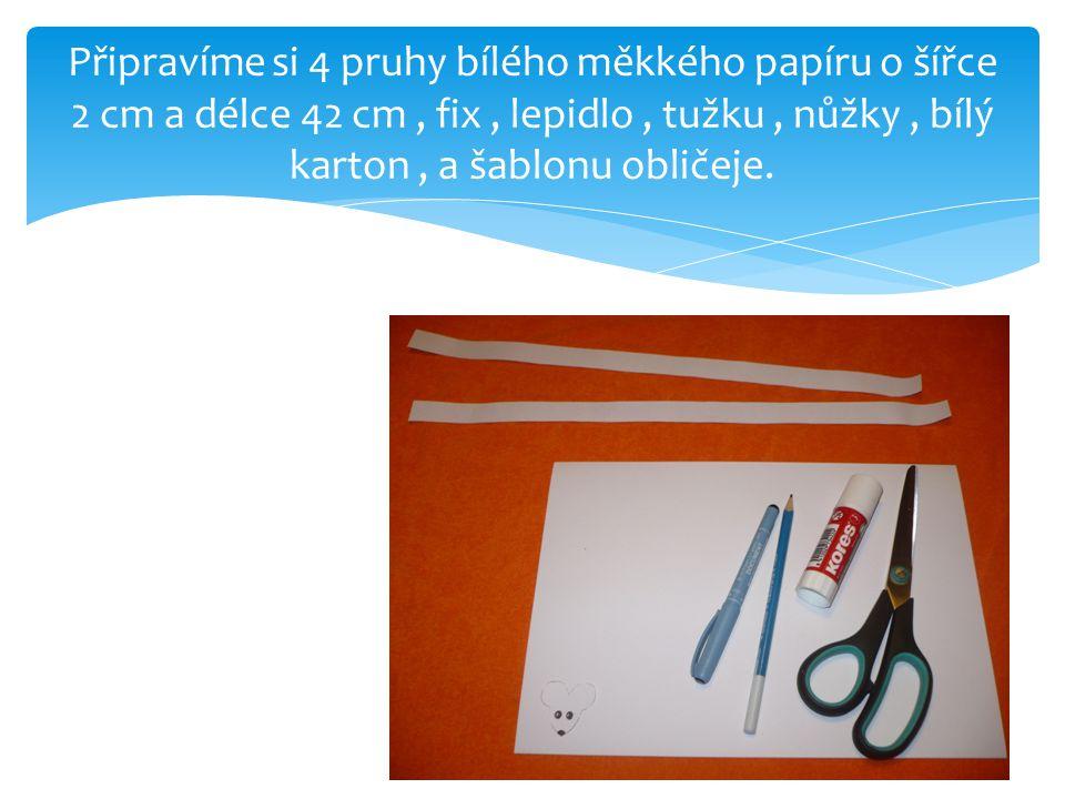 Připravíme si 4 pruhy bílého měkkého papíru o šířce 2 cm a délce 42 cm, fix, lepidlo, tužku, nůžky, bílý karton, a šablonu obličeje.