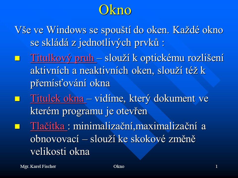 Mgr. Karel FischerOkno1Okno Vše ve Windows se spouští do oken.