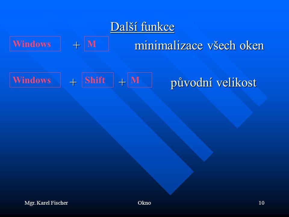 Mgr. Karel FischerOkno10 Další funkce + minimalizace všech oken + minimalizace všech oken + + původní velikost + + původní velikost WindowsM ShiftM
