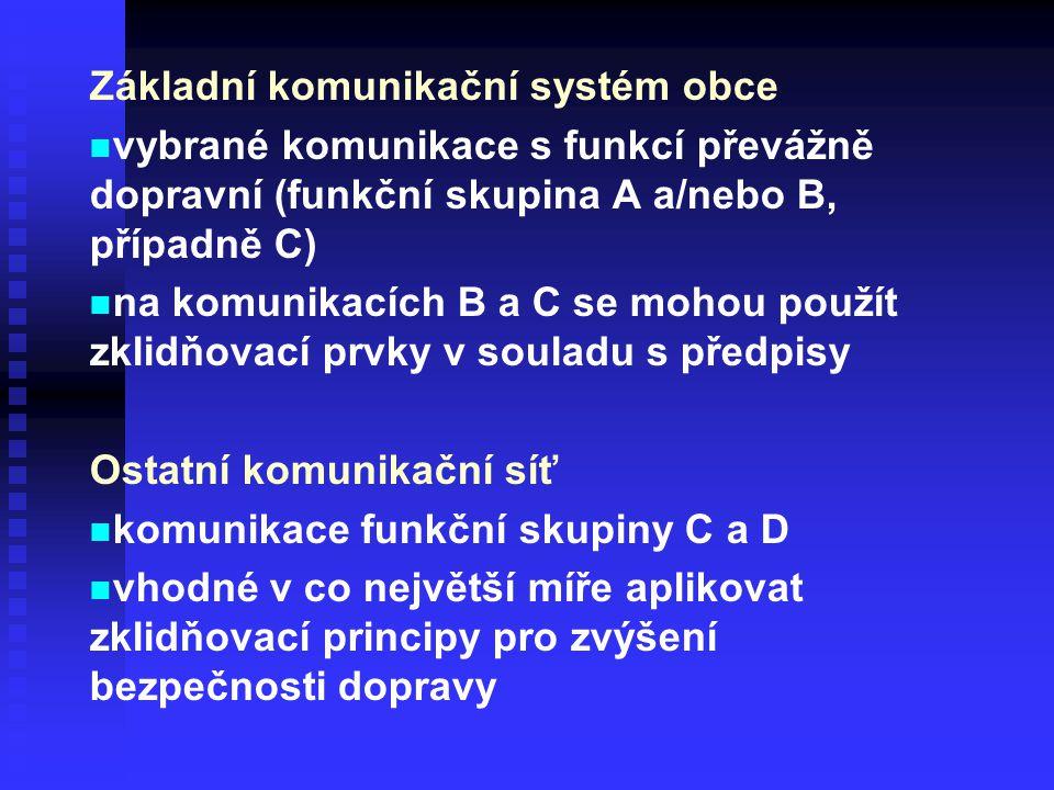 Základní komunikační systém obce vybrané komunikace s funkcí převážně dopravní (funkční skupina A a/nebo B, případně C) na komunikacích B a C se mohou