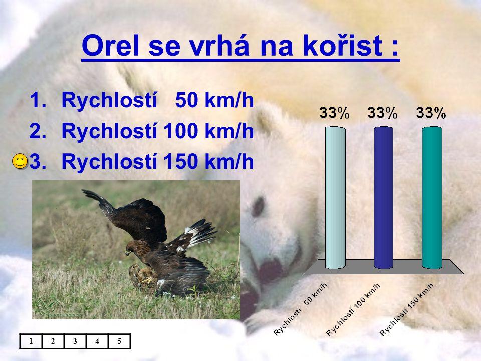 Orel se vrhá na kořist : 1.Rychlostí 50 km/h 2.Rychlostí 100 km/h 3.Rychlostí 150 km/h 12345