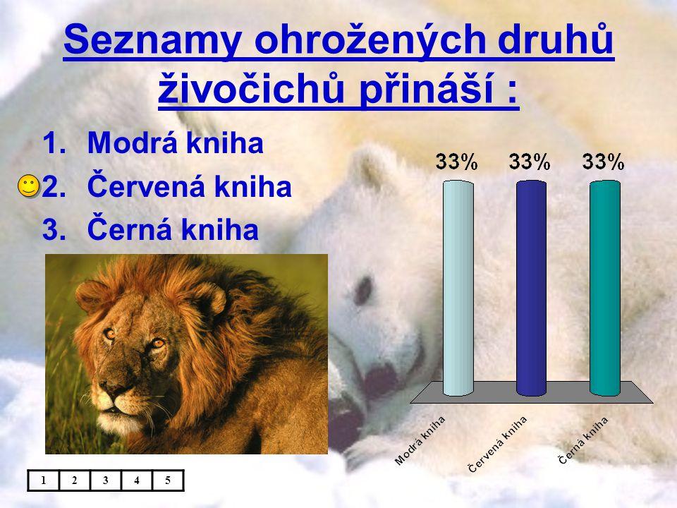 Seznamy ohrožených druhů živočichů přináší : 1.Modrá kniha 2.Červená kniha 3.Černá kniha 12345
