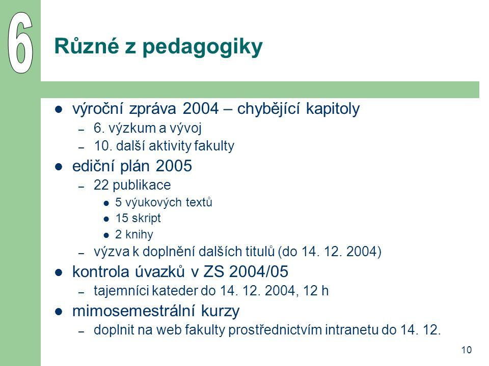 10 Různé z pedagogiky výroční zpráva 2004 – chybějící kapitoly – 6.