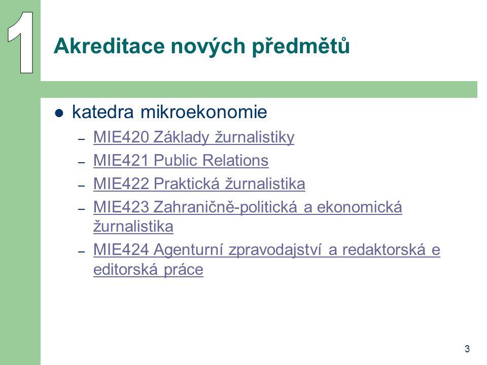 3 Akreditace nových předmětů katedra mikroekonomie – MIE420 Základy žurnalistiky MIE420 Základy žurnalistiky – MIE421 Public Relations MIE421 Public R