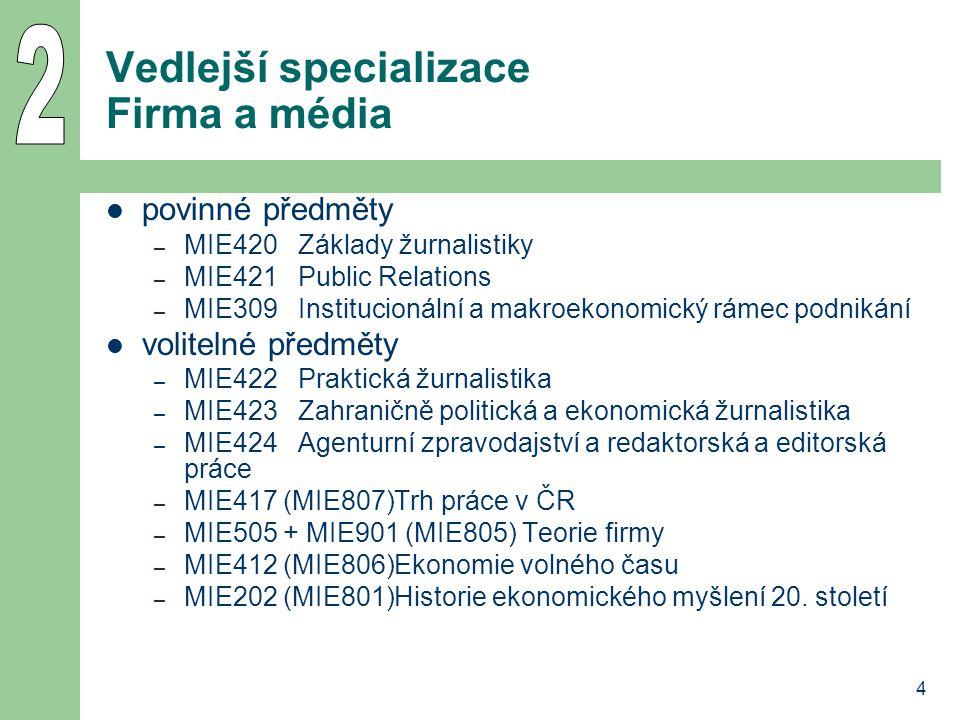 4 Vedlejší specializace Firma a média povinné předměty – MIE420Základy žurnalistiky – MIE421Public Relations – MIE309Institucionální a makroekonomický rámec podnikání volitelné předměty – MIE422Praktická žurnalistika – MIE423Zahraničně politická a ekonomická žurnalistika – MIE424Agenturní zpravodajství a redaktorská a editorská práce – MIE417 (MIE807)Trh práce v ČR – MIE505 + MIE901 (MIE805) Teorie firmy – MIE412 (MIE806)Ekonomie volného času – MIE202 (MIE801)Historie ekonomického myšlení 20.