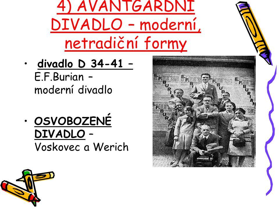 4) AVANTGARDNÍ DIVADLO – moderní, netradiční formy divadlo D 34-41 – E.F.Burian – moderní divadlo OSVOBOZENÉ DIVADLO – Voskovec a Werich