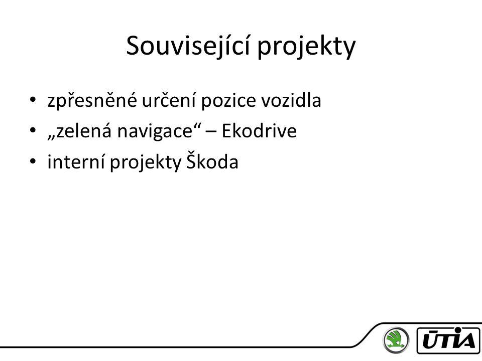 """Související projekty zpřesněné určení pozice vozidla """"zelená navigace – Ekodrive interní projekty Škoda"""