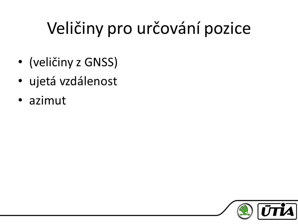 Veličiny pro určování pozice (veličiny z GNSS) ujetá vzdálenost azimut