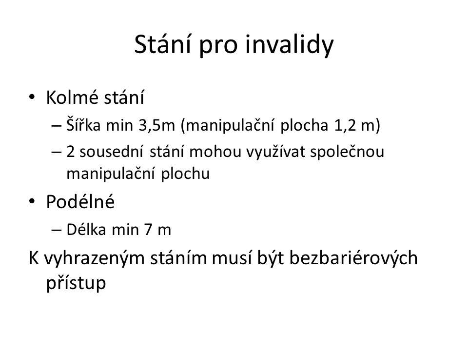 Stání pro invalidy Kolmé stání – Šířka min 3,5m (manipulační plocha 1,2 m) – 2 sousední stání mohou využívat společnou manipulační plochu Podélné – Dé