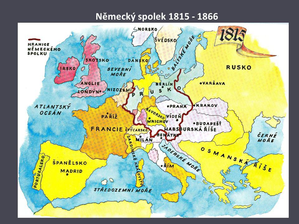 Sjednocení Německa Situace po roce 1848: na rozdíl od Italů nemuseli Němci bojovat s žádným národem, který by je ovládal žili v jednotlivých německých státech, které tvořily Svatou říši římskou po revoluci 1848 čekalo Prusko na vhodnou záminku k válce s Rakouskem (včele Německého spolku) a od roku 1806 Německý spolek spor s Rakouskem o dobytá území na Dánsku – 1866 vpád Pruska do Čech Italové využili situace – útok na Rakousko z jihu