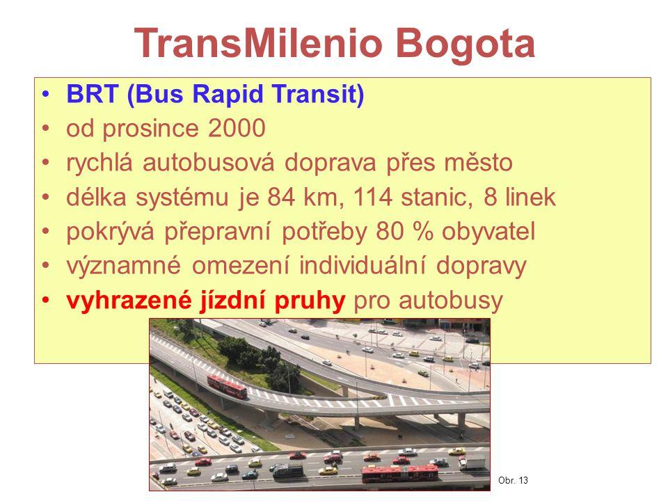 TransMilenio Bogota BRT (Bus Rapid Transit) od prosince 2000 rychlá autobusová doprava přes město délka systému je 84 km, 114 stanic, 8 linek pokrývá