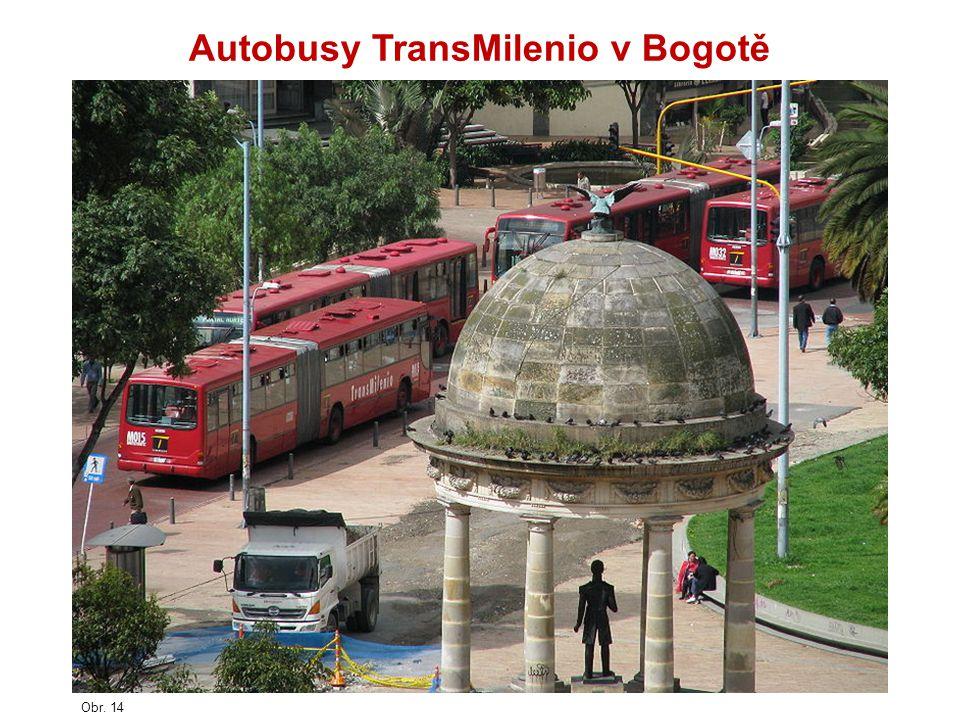 Obr. 14 Autobusy TransMilenio v Bogotě