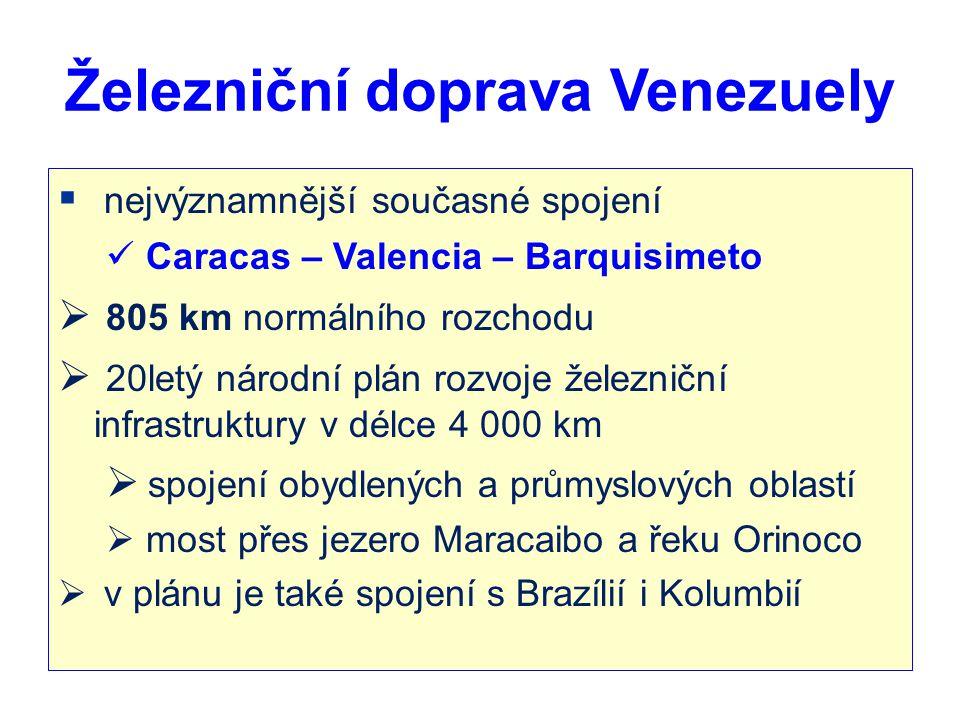 Železniční doprava Venezuely  nejvýznamnější současné spojení Caracas – Valencia – Barquisimeto  805 km normálního rozchodu  20letý národní plán ro