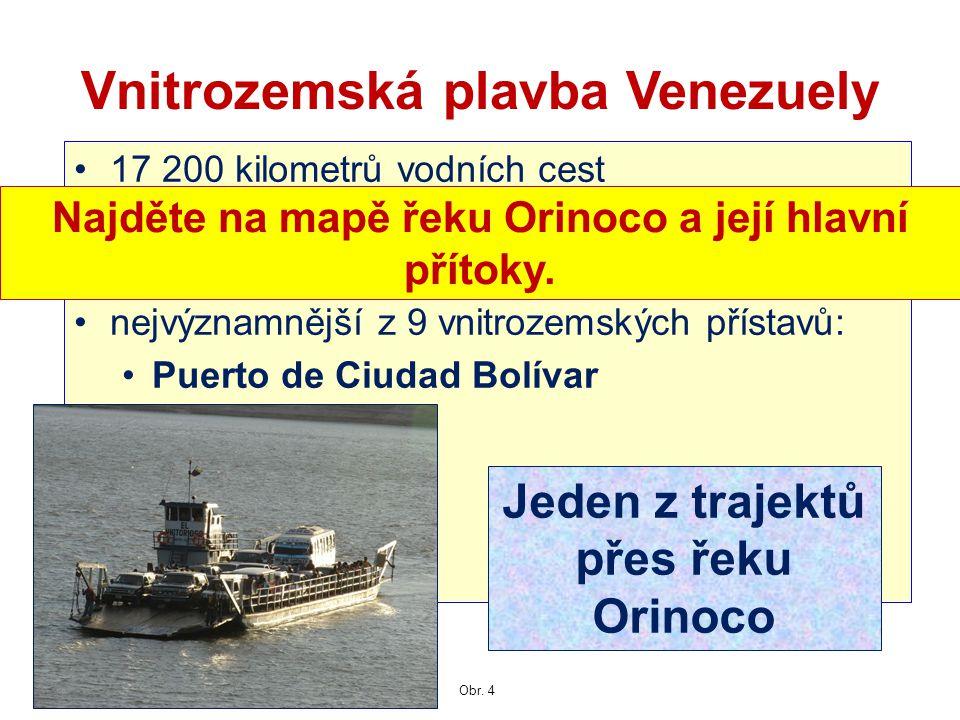 17 200 kilometrů vodních cest používá se asi 7 100 kilometrů, zejména řeka Orinoko nejvýznamnější z 9 vnitrozemských přístavů: Puerto de Ciudad Bolíva