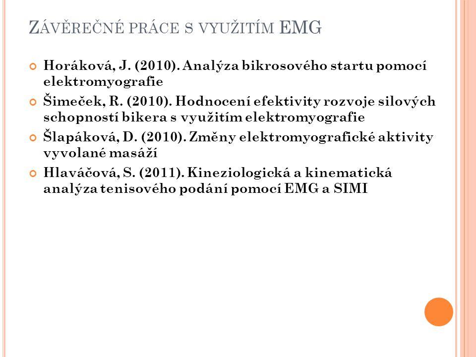 Z ÁVĚREČNÉ PRÁCE S VYUŽITÍM EMG Horáková, J. (2010).