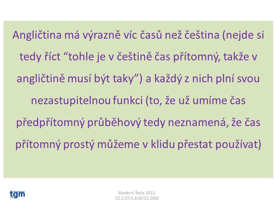 """Angličtina má výrazně víc časů než čeština (nejde si tedy říct """"tohle je v češtině čas přítomný, takže v angličtině musí být taky"""") a každý z nich pln"""