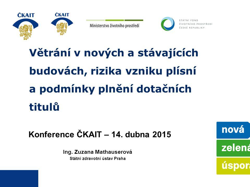 Větrání v nových a stávajících budovách, rizika vzniku plísní a podmínky plnění dotačních titulů Konference ČKAIT – 14. dubna 2015 Ing. Zuzana Mathaus