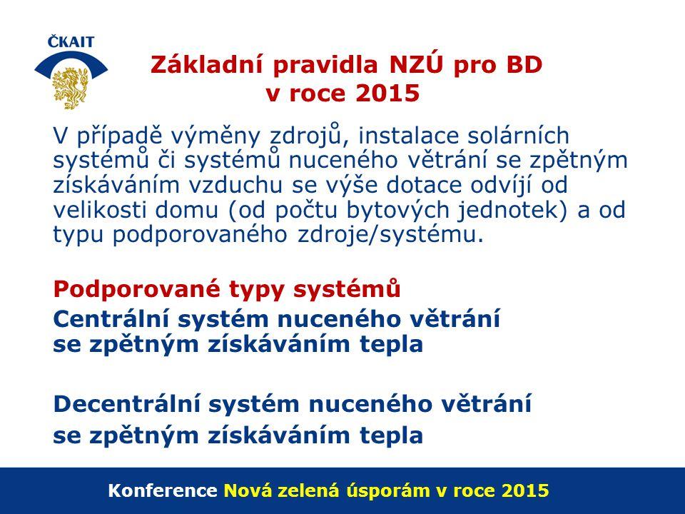 Základní pravidla NZÚ pro BD v roce 2015 V případě výměny zdrojů, instalace solárních systémů či systémů nuceného větrání se zpětným získáváním vzduch