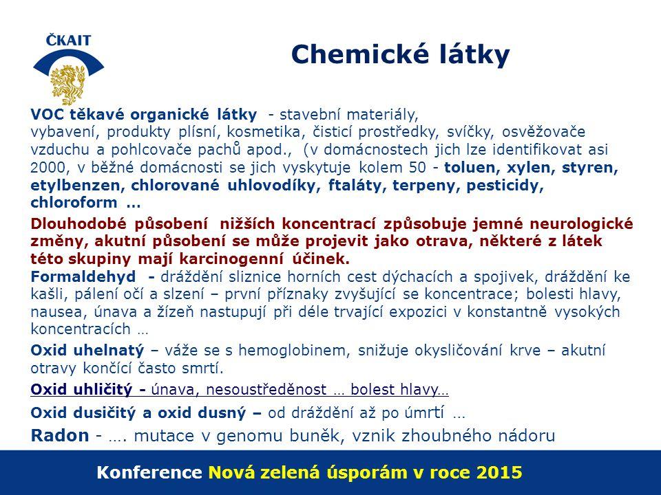 Chemické látky VOC těkavé organické látky - stavební materiály, vybavení, produkty plísní, kosmetika, čist i cí prostředky, svíčky, osvěžovače vzduchu