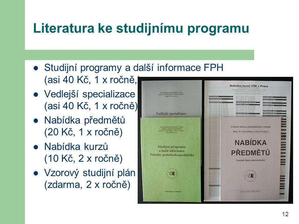 12 Literatura ke studijnímu programu Studijní programy a další informace FPH (asi 40 Kč, 1 x ročně,) Vedlejší specializace (asi 40 Kč, 1 x ročně) Nabí