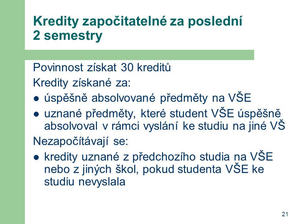 21 Kredity započitatelné za poslední 2 semestry Povinnost získat 30 kreditů Kredity získané za: úspěšně absolvované předměty na VŠE uznané předměty, k
