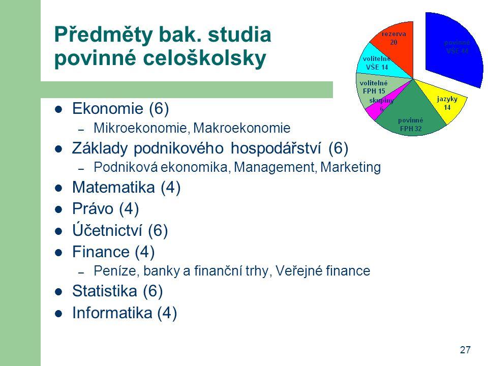 27 Předměty bak. studia povinné celoškolsky Ekonomie (6) – Mikroekonomie, Makroekonomie Základy podnikového hospodářství (6) – Podniková ekonomika, Ma