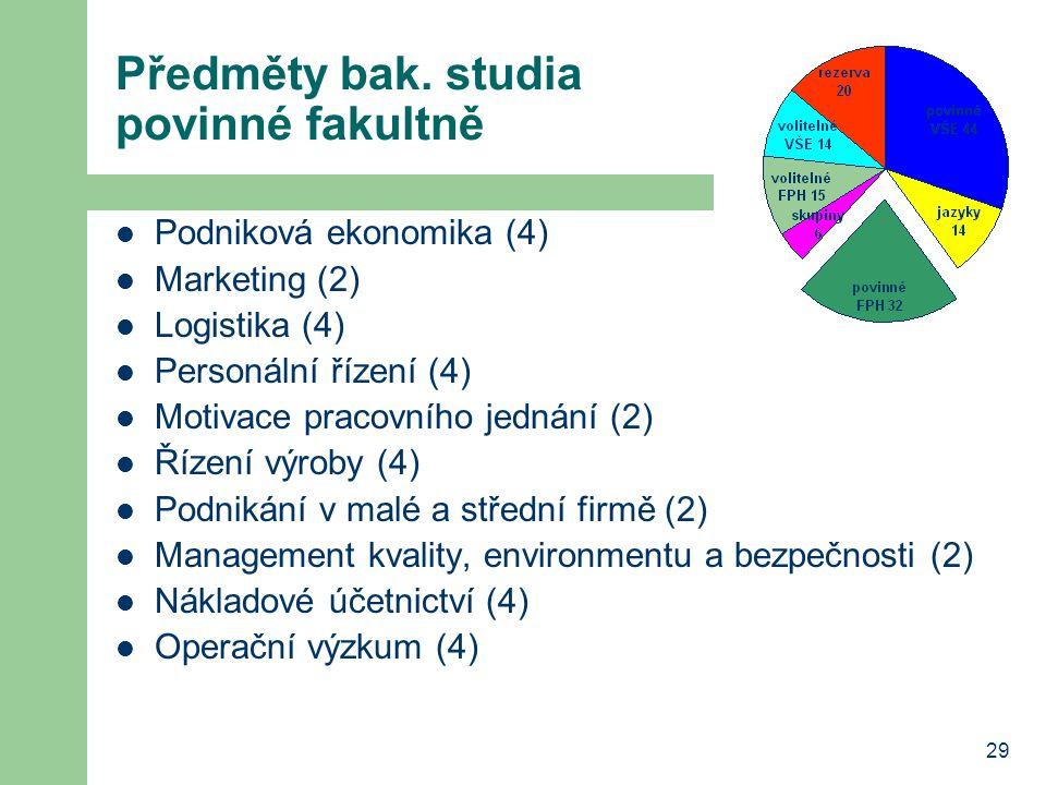 29 Předměty bak. studia povinné fakultně Podniková ekonomika (4) Marketing (2) Logistika (4) Personální řízení (4) Motivace pracovního jednání (2) Říz