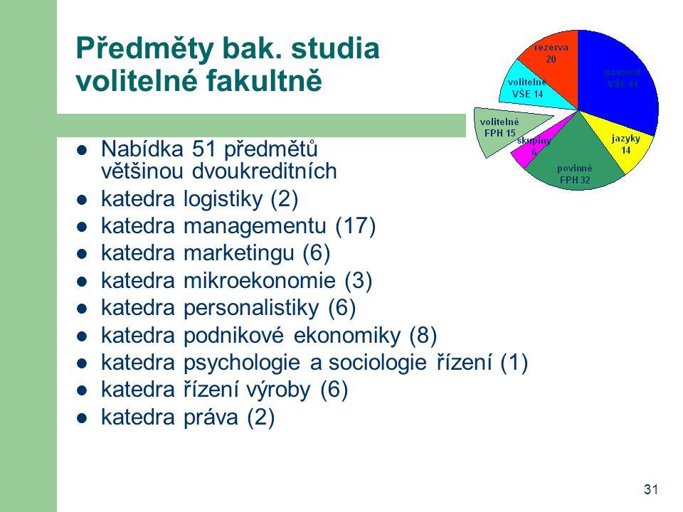 31 Předměty bak. studia volitelné fakultně Nabídka 51 předmětů většinou dvoukreditních katedra logistiky (2) katedra managementu (17) katedra marketin