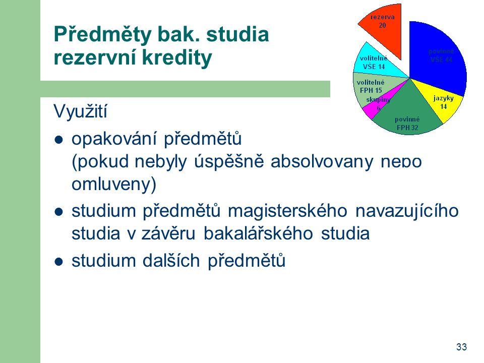 33 Předměty bak. studia rezervní kredity Využití opakování předmětů (pokud nebyly úspěšně absolvovány nebo omluveny) studium předmětů magisterského na