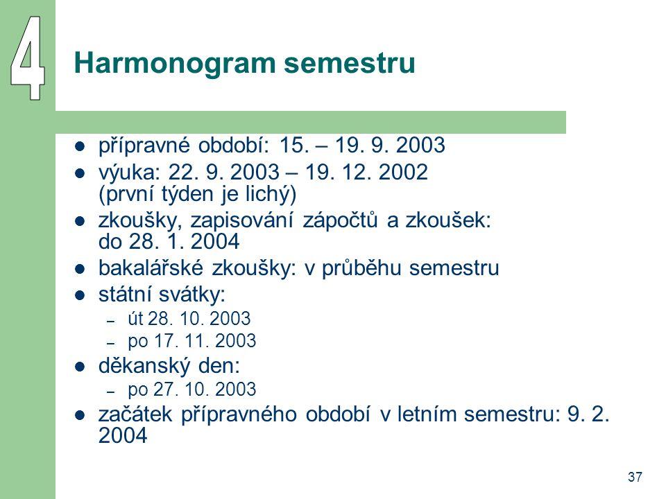37 Harmonogram semestru přípravné období: 15. – 19. 9. 2003 výuka: 22. 9. 2003 – 19. 12. 2002 (první týden je lichý) zkoušky, zapisování zápočtů a zko