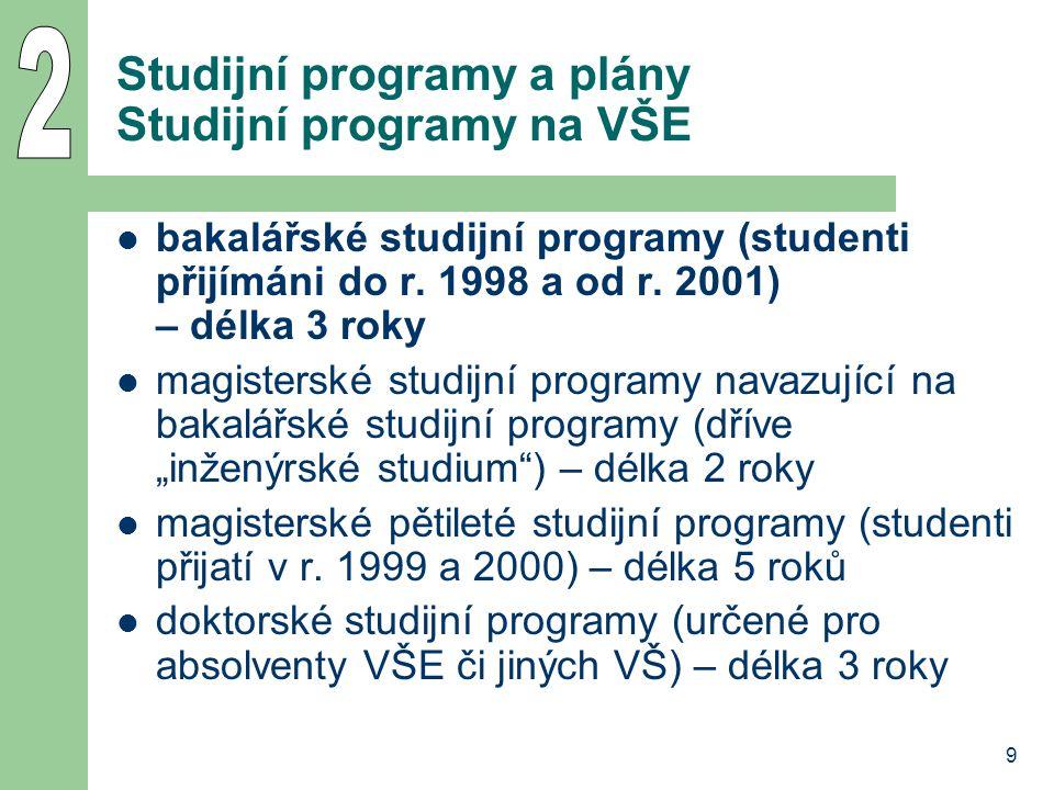 9 Studijní programy a plány Studijní programy na VŠE bakalářské studijní programy (studenti přijímáni do r. 1998 a od r. 2001) – délka 3 roky magister