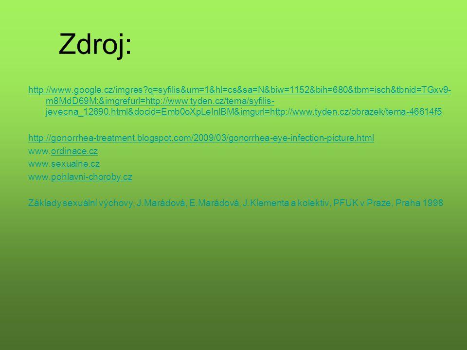 Zdroj: http://www.google.cz/imgres?q=syfilis&um=1&hl=cs&sa=N&biw=1152&bih=680&tbm=isch&tbnid=TGxv9- m8MdD69M:&imgrefurl=http://www.tyden.cz/tema/syfilis- jevecna_12690.html&docid=Emb0oXpLeInlBM&imgurl=http://www.tyden.cz/obrazek/tema-46614f5 http://gonorrhea-treatment.blogspot.com/2009/03/gonorrhea-eye-infection-picture.html www.ordinace.czordinace.cz www.sexualne.czsexualne.cz www.pohlavni-choroby.czpohlavni-choroby.cz Základy sexuální výchovy, J.Marádová, E.Marádová, J.Klementa a kolektiv, PFUK v Praze, Praha 1998