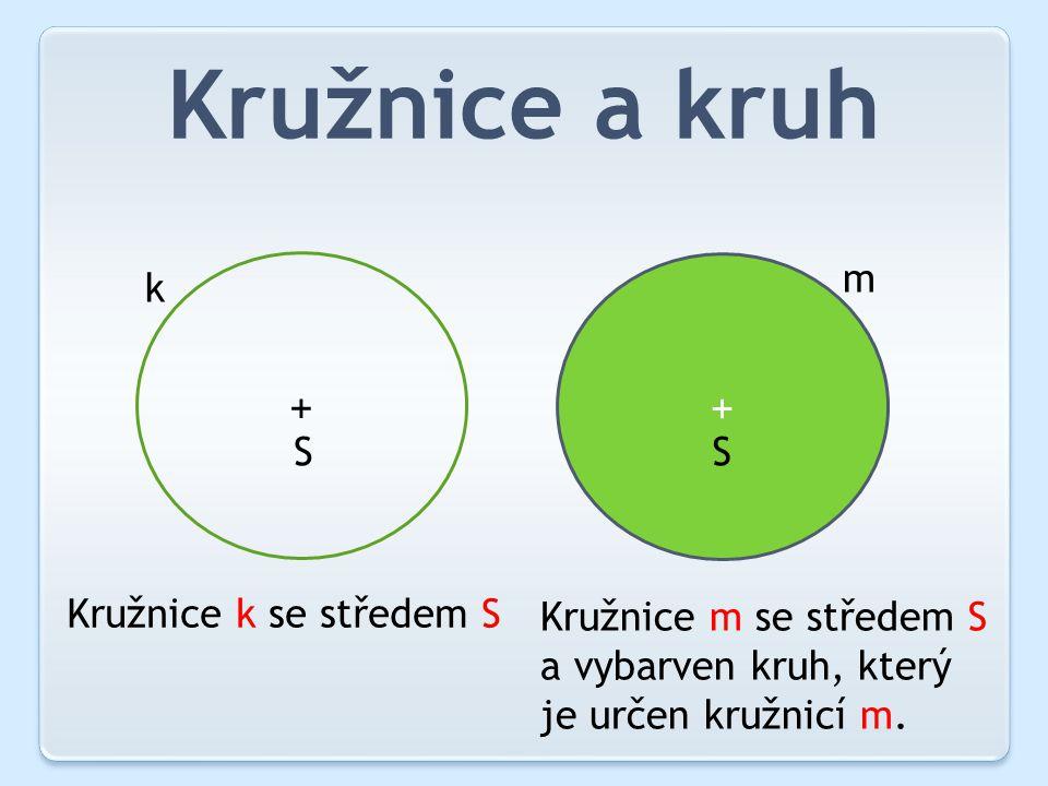 Kružnice a kruh + + SS k m Kružnice k se středem S Kružnice m se středem S a vybarven kruh, který je určen kružnicí m.