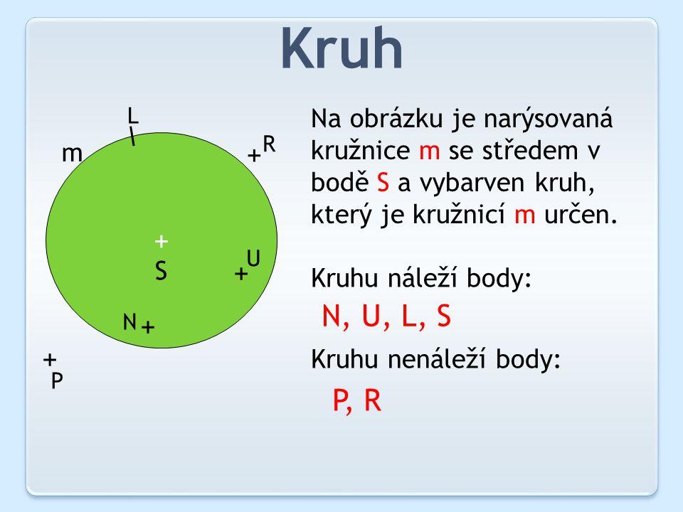 Kruh + m S + + R P + + N U L Na obrázku je narýsovaná kružnice m se středem v bodě S a vybarven kruh, který je kružnicí m určen.