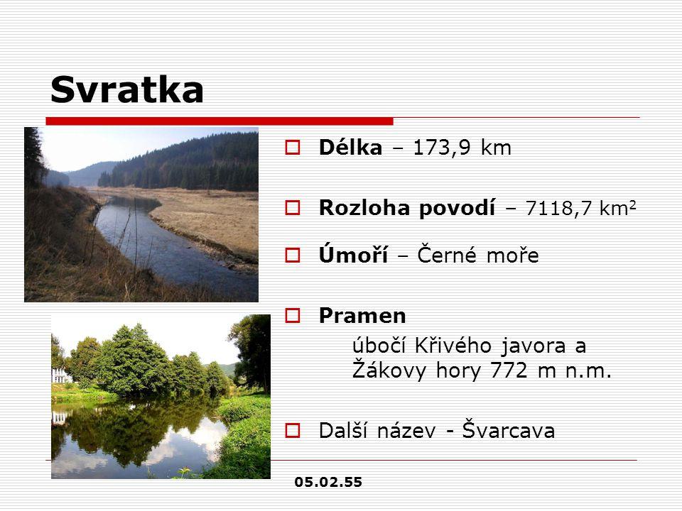 Svratka  Délka – 173,9 km  Rozloha povodí – 7118,7 km 2  Úmoří – Černé moře  Pramen úbočí Křivého javora a Žákovy hory 772 m n.m.  Další název -