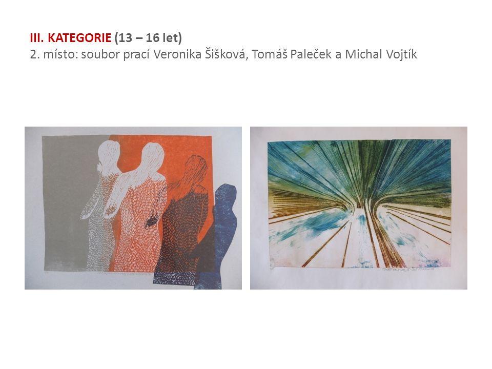 III. KATEGORIE (13 – 16 let) 2. místo: soubor prací Veronika Šišková, Tomáš Paleček a Michal Vojtík