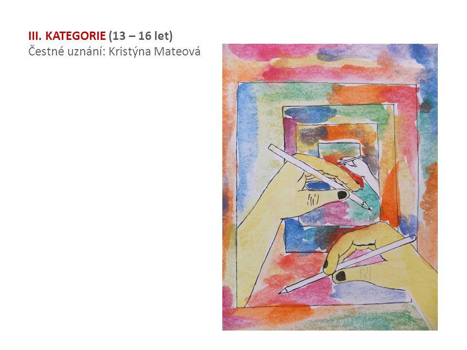 III. KATEGORIE (13 – 16 let) Čestné uznání: Kristýna Mateová
